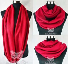 Warm Jersey Circle Loop Cowl Autumn Winter Shawl Infinity Plain Scarf Snood Xmas
