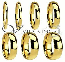 Men & Women 18k Gold Plated Ring Stainless Steel Wedding Band Size 4 to 14.5