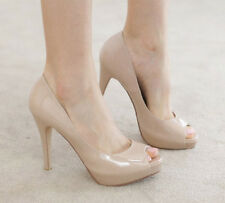 Hot Fashion Womens Platform Pumps Peep Toe Stiletto High Heels Shoes Beige/Black