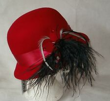 LADIES CLOCHE HAT RED SIDE FLOATY FEATHERS & BEADS VERY DOWNTON ABBEY