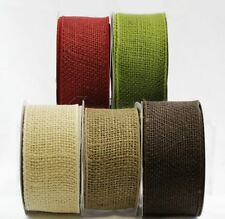 Burlap Hessian Jute Arts Craft Bow Tape Gift Wrap Rustic Wired Ribbon 64mm