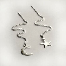 New 925 Sterling Silver Pull Thread Through Ear Star Moon Chain Dangle Earrings