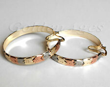 14k 3Tone Gold Filled Hearts Earrings will Matching with Semanario 7-Day Bangles