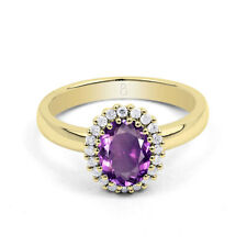 18ct Yellow Gold Amethyst & Diamond Halo Engagement Ring 0.16ct 2.5mm