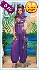 Sexy Purple Arabian Genie Aladdin Fancy Dress Up Halloween Costume Ladies