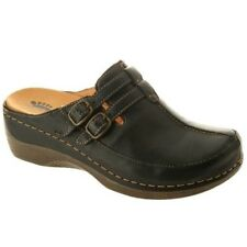 Spring Step Women's Happy Casual Comfort Leather Open Back Clog Shoes Black