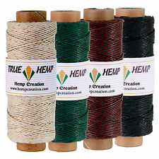 Natural Hemp Twine Cord - Pack of 4 TRUE HEMP spools - 1mm 20lb - 205feet/62m -