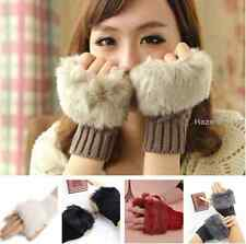 Girl Ladies Fingerless Fur Winter Warm Wrist Knitted Wool Mitten Gloves