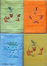 Pack Of 2 Funky Fruits 100% Cotton Quality Kitchen Tea Towels Dishcloths