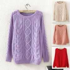 Vintage Patterned Womens Knitted Long Sleeve Casual Loose Pullover Sweater Top