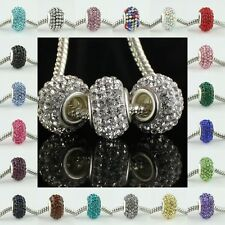 WHOLESALE COLORS AUSTRIAN CRYSTAL SILVER FINDINGS EUROPEAN CHARM BIG HOLE BEADS