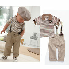 Baby Boy Toddler Clothes Gentleman Strips Tops+Pants+Braces 3Pcs Outfit Set 0-3Y