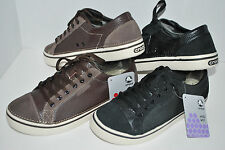 NEW NWT CROCS HOVER LACE LEATHER shoe 9 10 11 12 13 BLACK or ESPRESSO BROWN