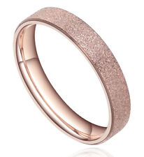 4mm Rose Gold Polished Stainless Steel Ring Wedding Band Mens Womens Comfort Fit