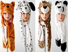Animal Hoodie Cartoon Fluffy Plush Costume Hat, Earmuff, Scarf, Gloves 4 in 1
