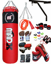 MADX 13 Piece Boxing Set 4ft/5ft Filled Heavy Punch Bag,Gloves,Bracket,Chain MMA