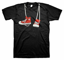 Cool Red Shoes Hanging Around Neck T-shirt Funny Step Brothers Movie Black Tee
