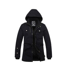 New Men's Black Cotton Hoodie Racer Blazer Trench Coat Overcoat Outerwear Jacket