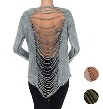 back fringe slashed mineral wash sweat thin french terry top shirt S M L 10238 T