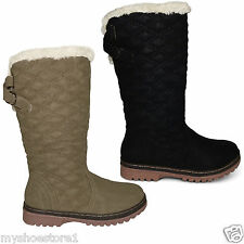 NEW WOMENS LADIES BOOTS QUILTED FUR LINED MID CALF GRIP SOLE WINTER SHOES SIZE