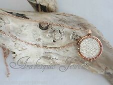 MI MILANO NECKLACE/PENDANT/KEEPER/LOCKET SET/CRYSTAL COIN/MONEDA ROSE GOLD