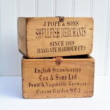 Rustic Vintage Wooden Storage Boxes Crates Trugs Country Shabby Kitchen Chic M