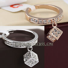 B1-R655 Fashion Cube Charm Ring 18KGP use Swarovski Crystal