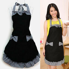 Vintage Womens Bowknot Restaurant Kitchen Bib Apron Dress with Pocket 3 Style