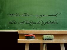 Wall Sticker WHERE THERE IS AN OPEN MIND, THERE WILL Quote Vinyl Decal EN-134-A4