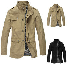 New Fashion Men's Cotton Mid-long Slim Fit Windbreaker Jacket Trench Parka Coat