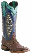 Lucchese M5802.TWF Womens Full Quill Ostrich Sienna Brown Saddle Vamp Boots