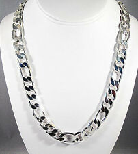 MENS 12MM 14K WHITE GOLD FINISH SILVER PREMIUM QUALITY FIGARO CHAIN NECKLACE