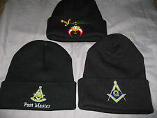 Black Masonic Stocking Cap Hat Knit Square Compass Past Master Warm Winter NEW!