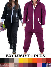 PLUS SIZE UNISEX MENS WOMENS LADIES PLAIN COLOR ONESIE JUMPSUIT PYJAMA ONE PIECE