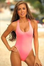 UjENA Neon Sheer One Piece Swimsuit - Sizes 6 8 10 12 14 16 18 - in 4 Hot Colors