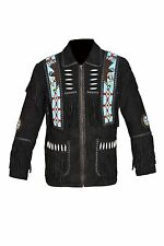 Men's Beaded Fringed Suede Leather Western Cowboy eagle Jacket