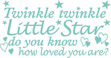 childrens wall/furniture art vinyl graphic, twinkle twinkle poen in any colour