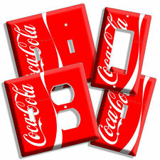 RED COCA COLA W VERTICAL LINE LIGHT SWITCH OUTLET WALL PLATE COVER KITCHEN DECOR