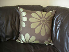 Handmade Cushion Cover Chocolate brown with large lime green daisy flower