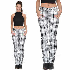 White Tartan Checked Plaid Skinny Slim Fitted Stretch Pants Punk Trousers Jeans