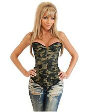 Camo Queen Burlesque Daisy Strapless Corset w/ Thong & Lace-up Back