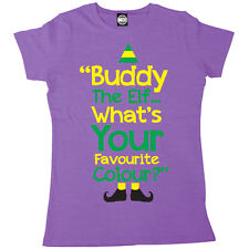 BUDDY THE ELF WHATS YOUR FAVOURITE COLOUR WOMENS NOVELTY CHRISTMAS T-SHIRT