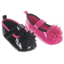 Baby Girls Black Pink Patent Pram Shoes 0-3 3-6  6-12 Months - Baby Shoes
