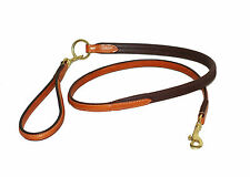 """Raised Leather dog lead with Rubber Grip Strap and detachable handle - 48"""" long"""