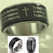 Lords Prayer Spinner Ring Stainless Steel Black Silver Our Father Cross Lord's