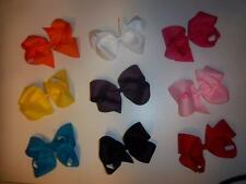 "LOT OF 3 -- LARGE girls 5"" inch classic four loop boutique hair bow 27 COLORS"