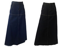 NEW LOVELY LADIES COTTON FULL LENGTH LONG JEANS DENIM SKIRT UK SIZE 10 - 22.