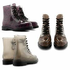 NEW LADIES TRENDY FASHION SEE THROUGH FLAT LACE UP ARMY COMBAT BOOTS RETRO SHOES