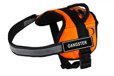 DT Works Orange Working Dog Harness with Fun Velcro Patches GANGSTER