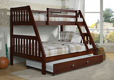 TWIN OVER FULL BUNK BED - SOLID WOOD - DARK ESPRESSO FINISH - SHIPS FREE